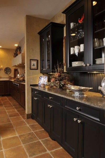 Open shelving cabinets and black kitchens on pinterest for Black beadboard kitchen cabinets