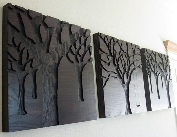 Wood Art Wall, Modern Wall Art, Wood Walls, Cnc Wood Art, Plywood Art, Cnc Art, Set Large, Large Art, Wood Carving Ideas