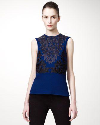 Stella McCartney Fall Trends: Blue Sleeveless, Jacket Sleeveless, Stella Mccartney Tops, Sleeveless Damask, Fashion Designers, Designer Clothing, Damask Top