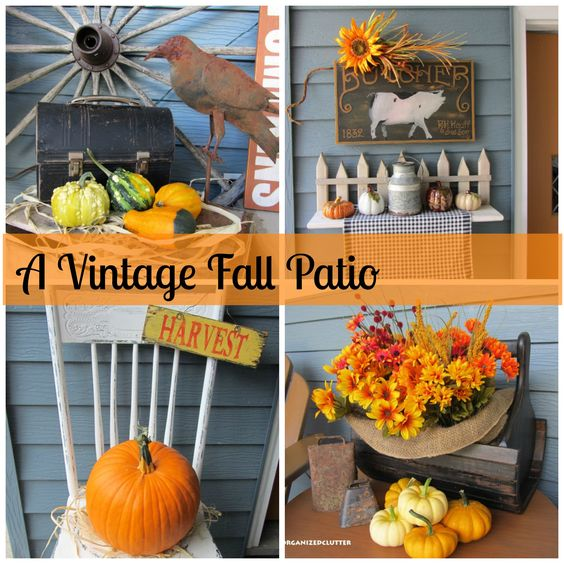Organized Clutter - Decorating the front porch with vintage and fall decor.