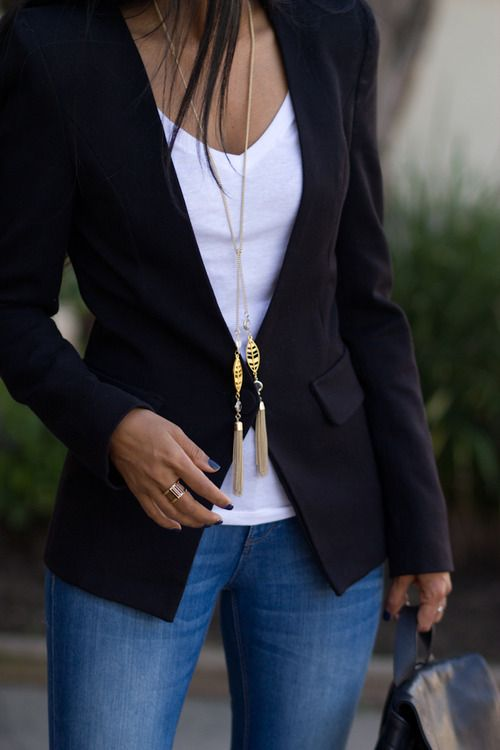 long necklace with a basic white tee, black blazer and jeans.