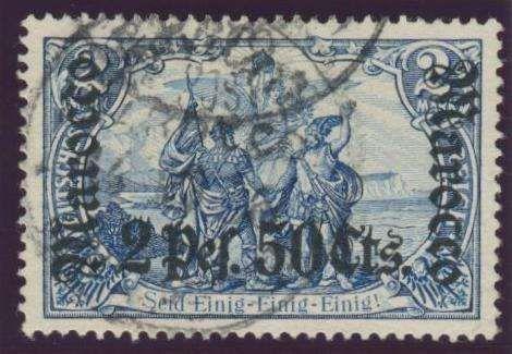 German Colonies, DP-Marokko 1905, 2 Pes. 50 Cts. auf 2 Mk., gestempelt Prachtstück, gepr. Bothe BPP (gest., Mi.-Nr.31/Mi.EUR 180,--). Price Estimate (8/2016): 50 EUR.