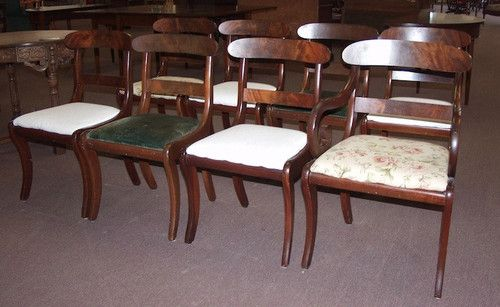Beautiful Set Of Eight Antique Empire Scroll Design Mahogany Dining Chairs