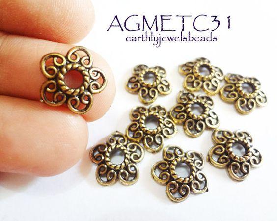 20 pcs Antique Gold Flower Bead Cap Metal by EarthlyJewels on Etsy, $1.80