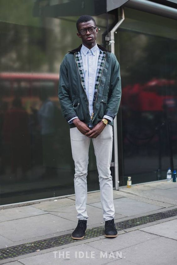 30代メンズドリズラージャケットコーデ:ホワイトデニム