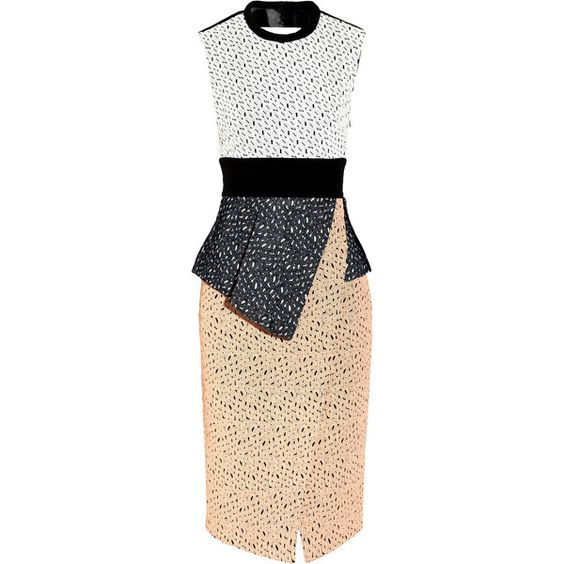 Proenza Schouler Embroidered laser-cut lace dress featuring polyvore fashion clothing dresses proenza schouler peach peplum dress peach lace dress beige dress wrap dress lace cocktail dress