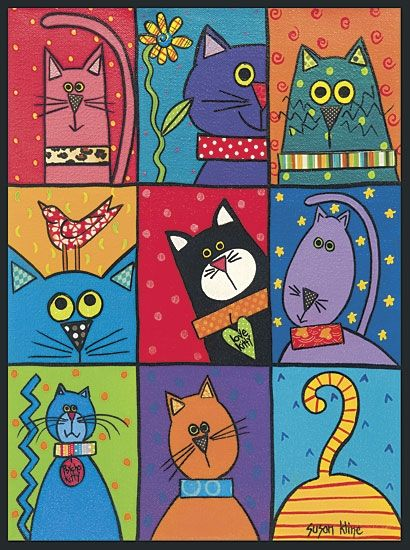 Cat Patch - these would be adorable painted on individual tiles and put around a mirror or in a tray or table!