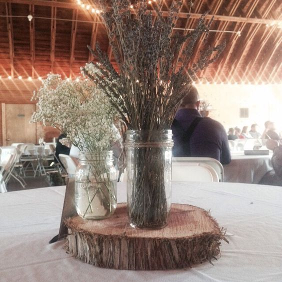 Rustic wedding centerpiece from dried lavender baby s