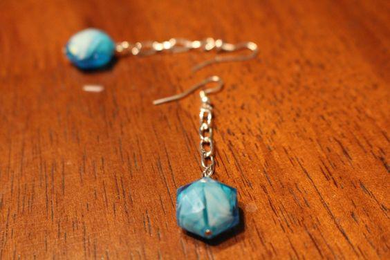 Sky Blue Hexagonal Crystal Beads - Sterling Silver Earrings by APromisedHope on Etsy