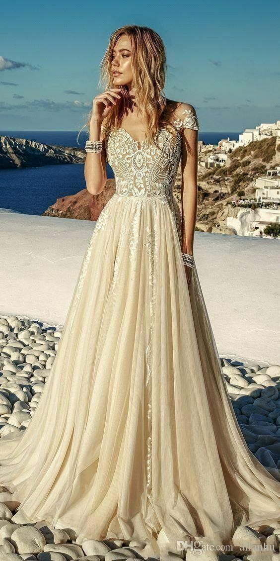 2019 New Summer Light Champagne Wedding Dresses Boho Beach Chiffon Lace A Line Appliques Long Wedding Dress Champagne Wedding Dresses 2017 A Line Wedding Dress