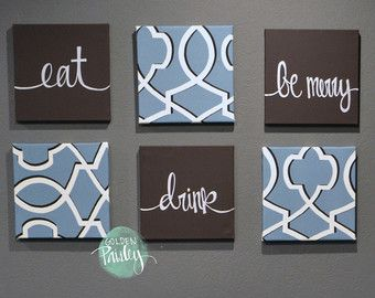 Eat Drink & Be Merry Wall Art Pack of 6 Canvas by GoldenPaisley