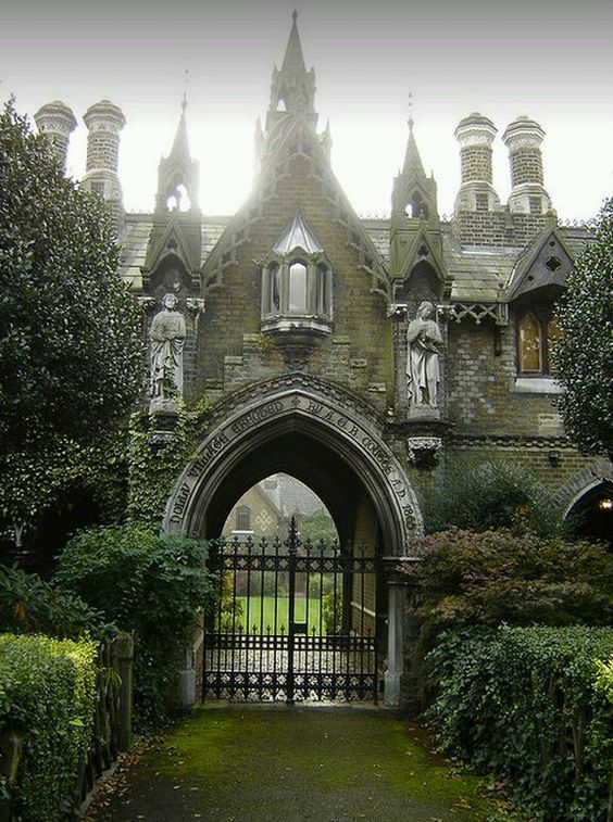 Gothic English gatehouse. What lies beyond and why is it barred?