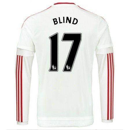 33,95€ - Günstige fußballtrikots Manchester United 15-16 Blind 17 Auswärts Langarm Trikot