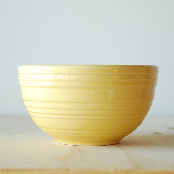 Vintage Kitchen Bowls: Vintage McCoy Mixing Bowl In Yellow 1930s Antique Pottery