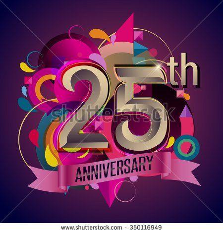 25th years anniversary wreath ribbon logo, geometric background - stock vector