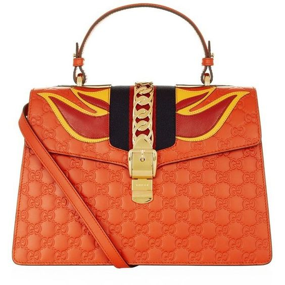 Gucci Sylvie Flame Shoulder Bag found on Polyvore featuring bags, handbags, shoulder bags, leather purses, red purse, gucci purses, chain shoulder bag and gucci handbags