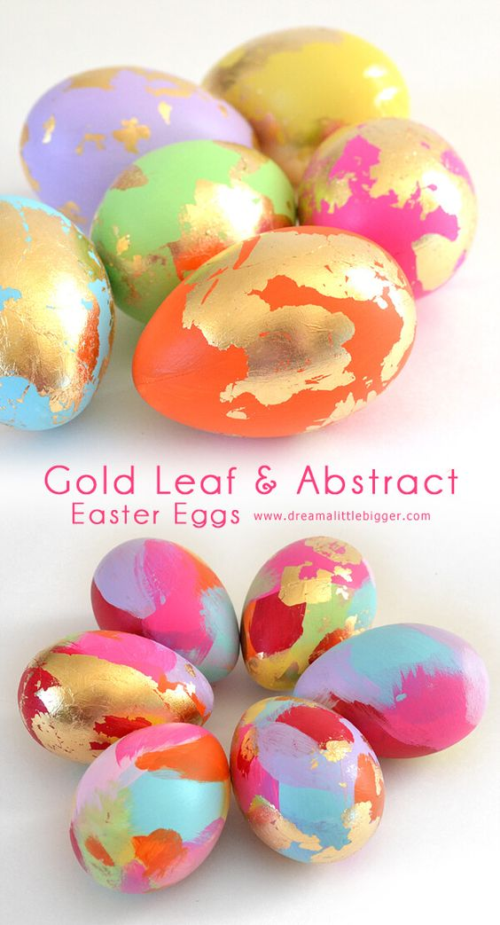 Vibrant paint colors and gold leaf make some modern and unique Easter Eggs. Extra bonus, they'll last forever!: