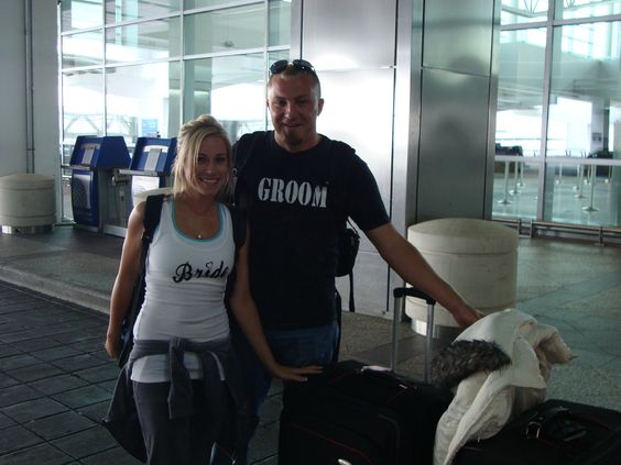 Make sure you wear the Bride & Groom shirt- we got free champagne and an extra seat to lounge out on our way to Paris! <3