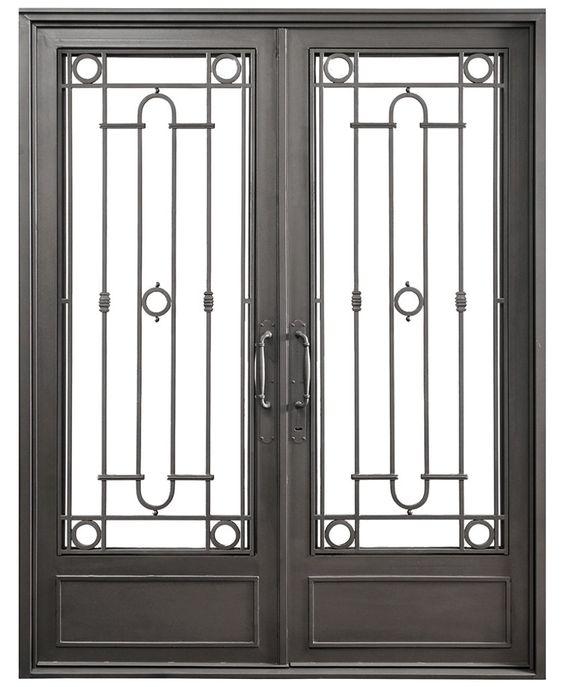 Puerta doble hoja recta f tima del hierro design del for Modelos de puertas de hierro con vidrio