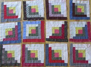 12-ANTIQUE-Early-Fabrics-Log-Cabin-QUILT-BLOCKS  Vintageblessings