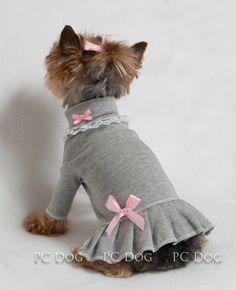 Gray and Pink Turtleneck Shirt Dress Mais