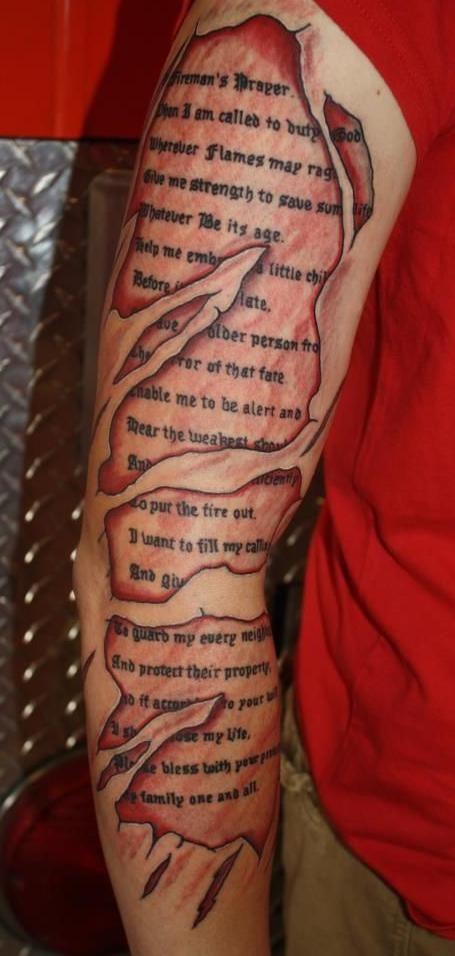 Fireman's Prayer Skin Tear Tattoo (arm) | Shared by LION