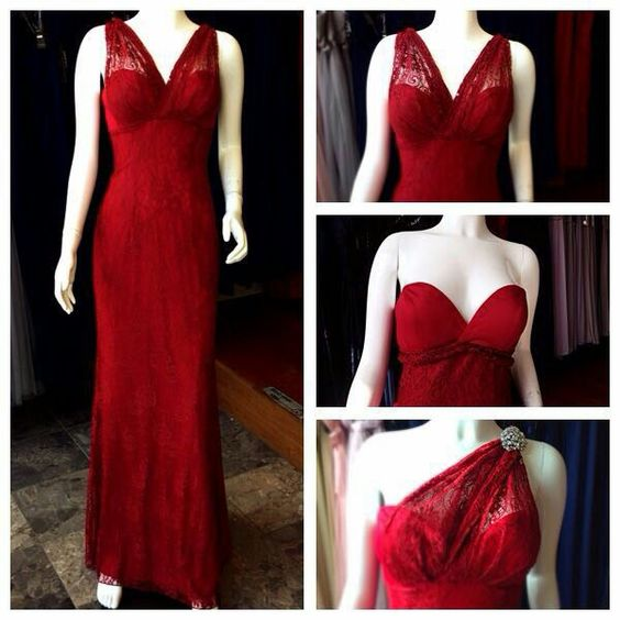 Multiway Lace dress in ruby red