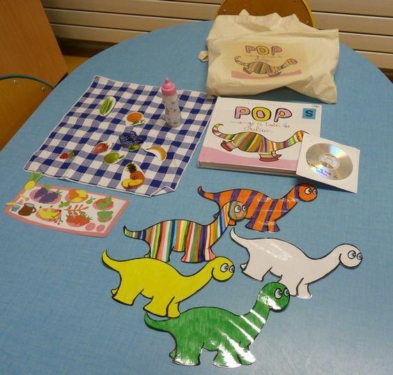 Pour terminer la série des sacs à albums, j'ai récupéré auprès de Christine, ma collègue de PS, les sacs qui circulent dans sa classe. &Pop mange de toutes les couleurs& : je joins le mot à coller sur le sac. &Le loup qui voulait changer de couleur& :...