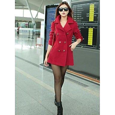 de manera delgado abrigo de lana de invierno de doble botonadura de las mujeres – CLP $ 25.097