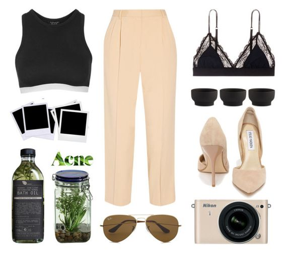 """""""::Pay No Mind::"""" by golden-stxte-of-mind ❤ liked on Polyvore featuring Topshop, LoveStories, Stelton, Polaroid, Alöe, The Row, Ray-Ban, Acne Studios, Steve Madden and Nikon"""