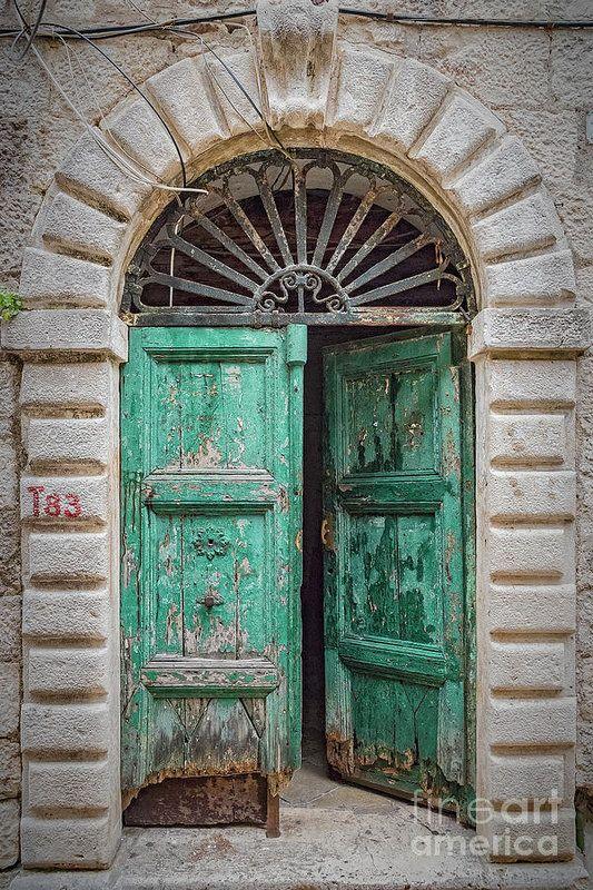 Old Green Door In Kotor Art Print By Antony Mcaulay In 2020 Blue Aesthetic Vintage Doors Old French Doors