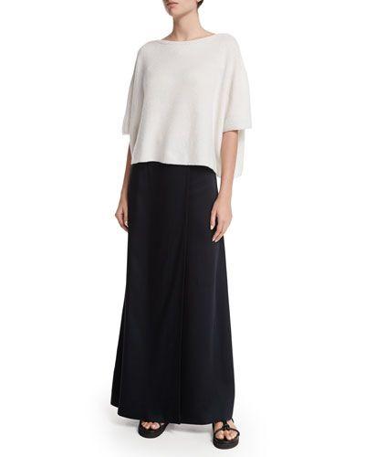 -69ND Helmut Lang Cropped Boxy Cashmere Sweater, White Woven Bias-Cut Maxi Skirt, Black: