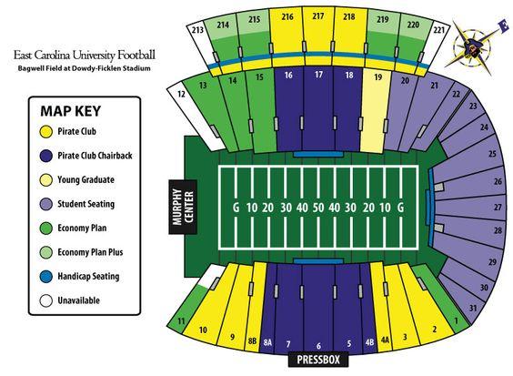 Football Stadium Ecu Football Stadium Seating Chart