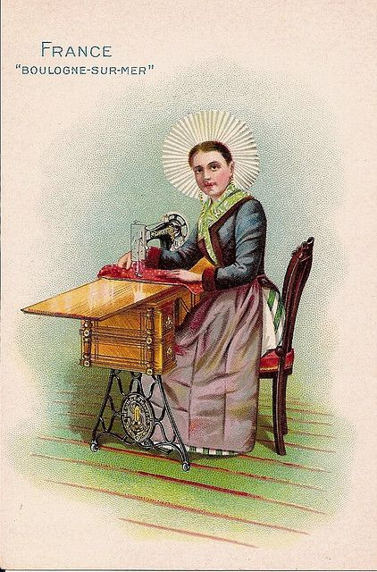 """The photograph represents a typical """"fish-wife"""" of Boulogne in holiday attire.  She wears the usual short skirt, ample apron, and large round flaring cap of fluted white muslin.  Although one of the earliest sewing machines was produced in France by Thimonnier, about seventy years ago, the Singer is now the recognized standard there."""