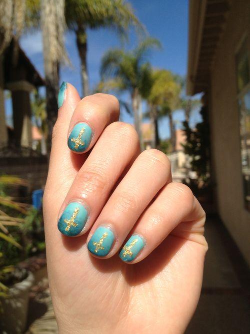 Cross Ombre Nail Design Cute Nails Blue Nail Cross Pretty Nails