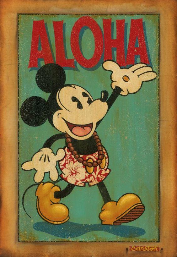Aloha quot by trevor carlton disney fine art disney s mickey mouse