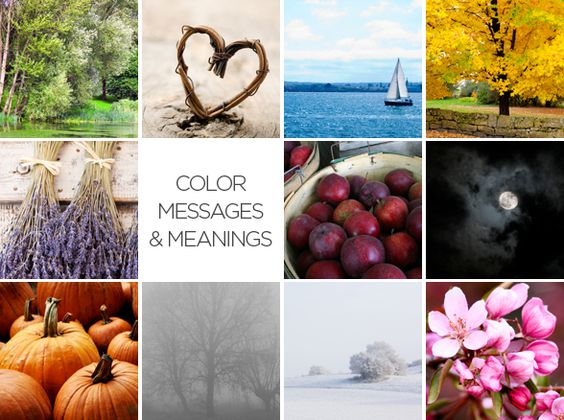 Color Messages and Meanings surrounded by 11 images of different colors