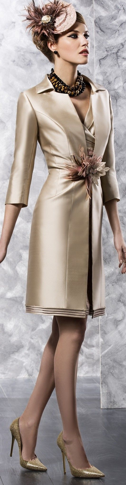Silk satin mother of the bride #dresses with 3/4 sleeves are popular.  This long sleeve jacket covers a nice short cocktail dress for the mother of the bride. The tailored look will look great on all the mothers of the #weddings. Our US dress firm cn recreate this look for you with any changes. See other mother of the bride dresses at http://www.dariuscordell.com/product-category/mother-of-the-bride-dresses/