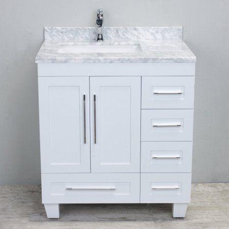 Eviva Loon 30 Long Handlestransitional White Bathroom Vanity With White Carrara Marble Counter Top Walmart Com In 2020 White Vanity Bathroom Single Sink Bathroom Vanity Bathroom Sink Vanity