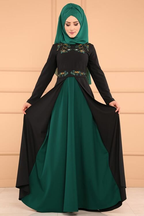 Modaselvim Elbise Cift Renkli Nakisli Elbise Pl848 S Siyah Zumrut Hijab Fashion Islamic Dress Fashion