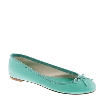 Classic leather ballet flats in turquoise pool
