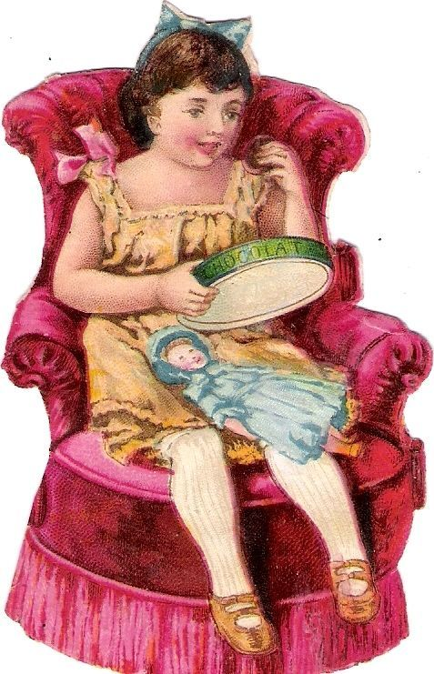 Oblaten Glanzbild scrap diecut chromo Kind child girl Puppe doll poupee chair:
