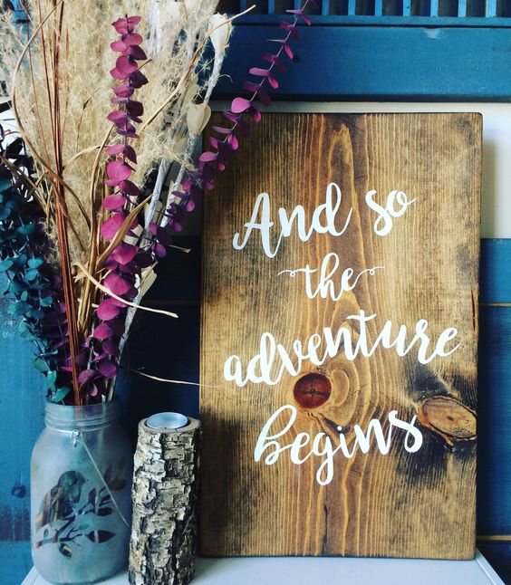 """Hand painted wood sign """"and so the adventure begins"""" hand lettering"""