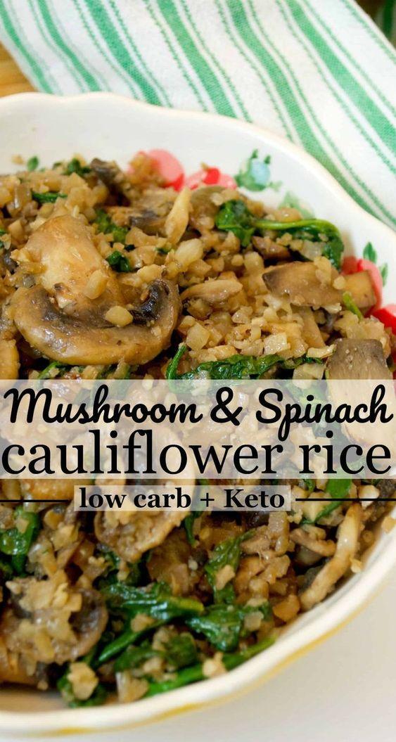 Low Carb Mushroom & Spinach Cauliflower Rice