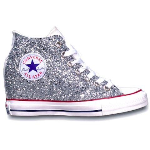 Women's Sparkly Glitter Converse All Stars Lux Wedge Heel