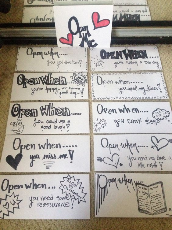 """""""Open when..."""" envelopes! These are perfect for military deployments or long distance relationships, etc.  I grabbed 10 envelopes and put hand written letters in each of them, some with little treats. I also made an 11th envelope for just pictures!"""