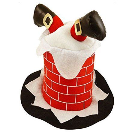 Adult Christmas Chimney Hat With Santa Claus Legs Novelty Xmas Funny Fancy Dress