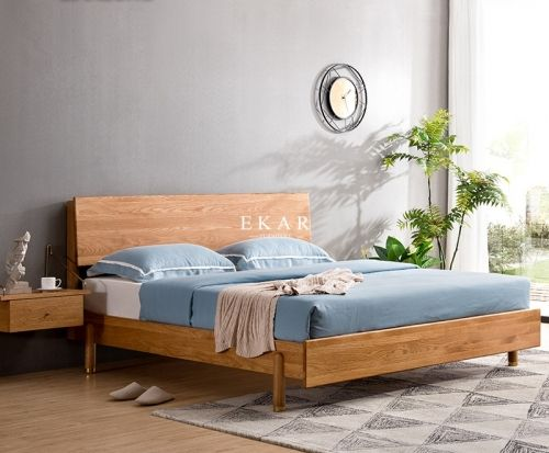 White Oak Wooden Frame Nordic Style Bedroom Ekar Furniture In 2020 White Oak Nordic Style Wooden Frames