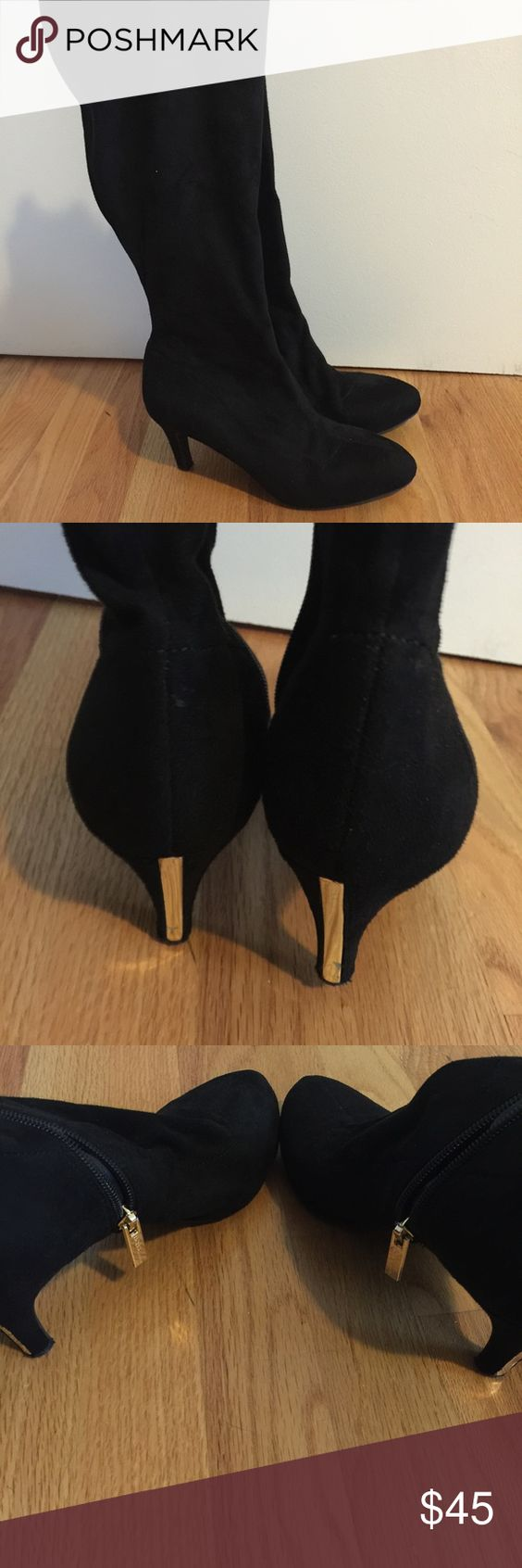 BCBG black suede knee high boots Size 8 black suede boots by BCBG generation. Worn only a few times. Inside zippers with gold accents. A few marks along the heel that aren't really noticeable while wearing. Stunning boots! BCBGeneration Shoes Heeled Boots
