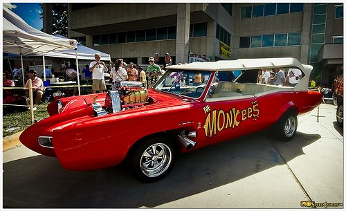 "Monkeemobile   here we come, walking down the street, get the funniest looks from everyone we meet,""Hey, hey we're the Monkees..."""